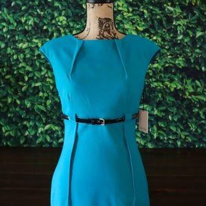 Calvin Klein | Pleated Sheath Dress & Belt